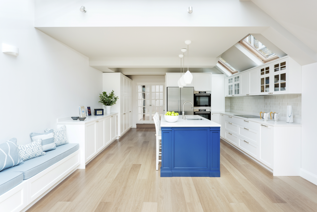 kitchen-white-bespoke-joinery-bright-blue-tiled-seating-hues-classical-pendents-stunning-interior-light-filled-Hux-London
